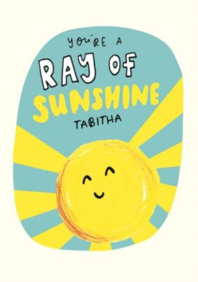 Ray Of Sunshine Personalised Thank You Card