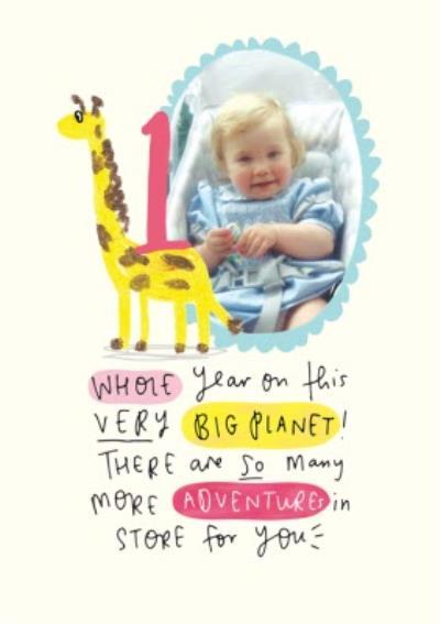 Giraffe First Birthday Photo Upload Card