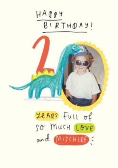 Dinosaur Second Birthday Photo Upload Card