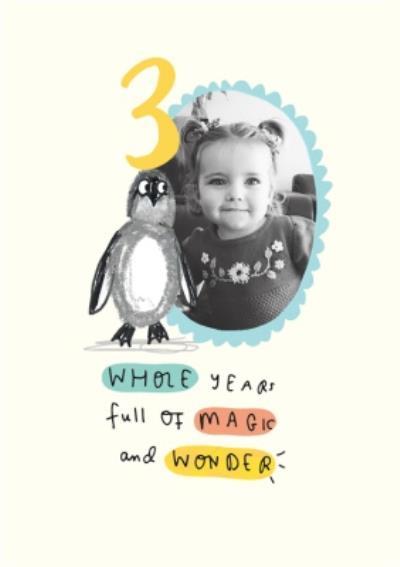 Penguin Third Birthday Photo Upload Card