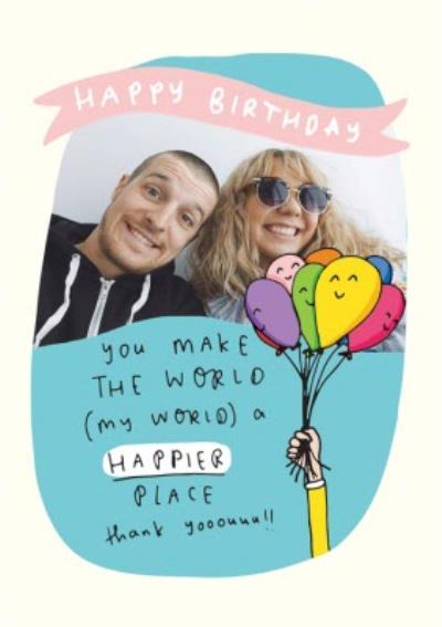 Birthday Balloons Photo Upload Card