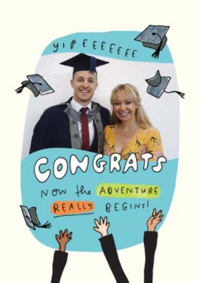 Cap Throwing Graduation Photo Upload Card