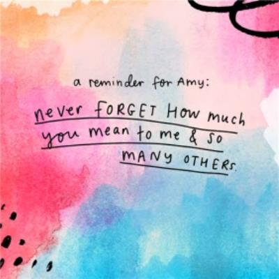 The Happy News Never forget how much you mean to me Thinking of you Card