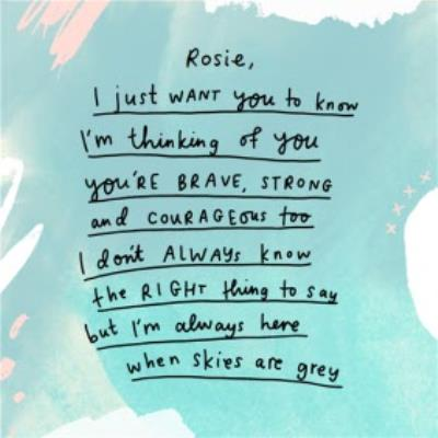 You're Brave, Stong and Courageous Thinking of you card
