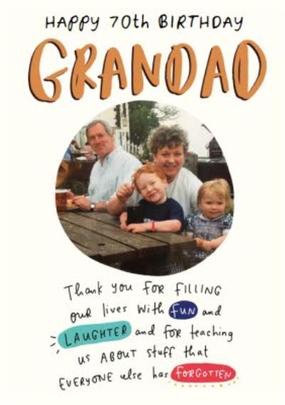 The Happy News 70th Photo Upload Birthday Card For Grandad