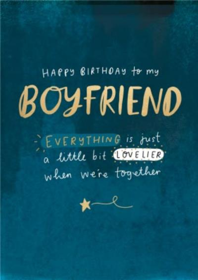 Typographic Love Together Boyfriend Star Happy Birthday Card