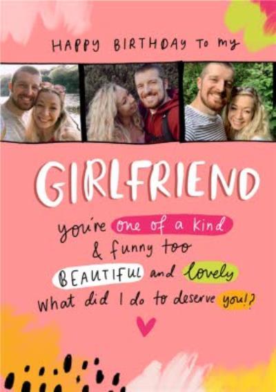 Typographic Girlfriend Happy Birthday Photo Upload Card