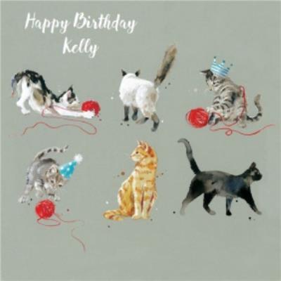 Cats Playing Around Personalised Birthday Card