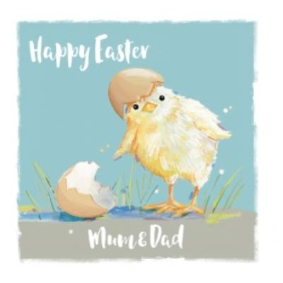 Easter Card - Easter Chick - Mum And Dad