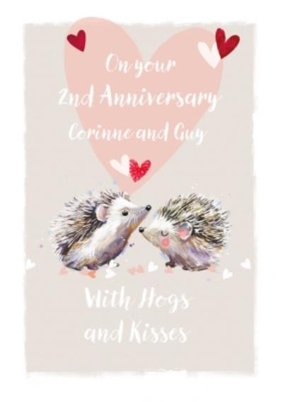 Hogs And Kisses Hedgehogs 2nd Anniversary Card