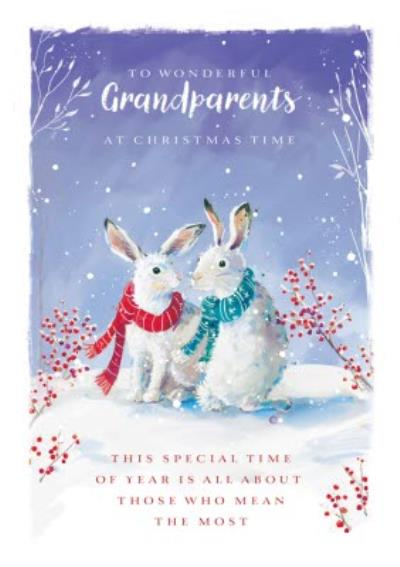 Traditional Grandparents Hare Christmas Card
