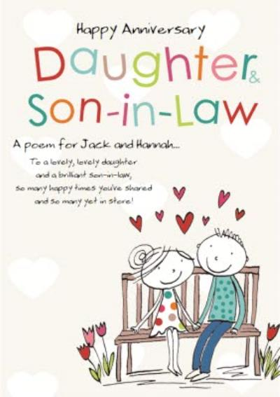 A Poem For Daughter And Son-In-Law Personalised Happy Anniversary Card