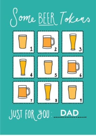 Beer Tokens Happy Father's Day Card