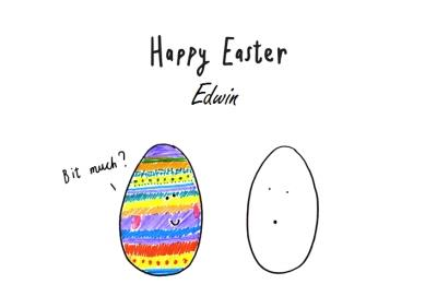 Rainbow Egg Versus Blank Egg Funny Happy Easter Card