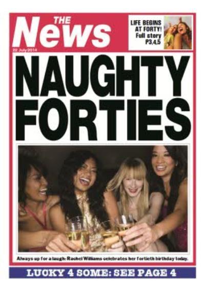 Naughty Forties Newspaper Headline Personalised Photo Upload 40th Birthday Card