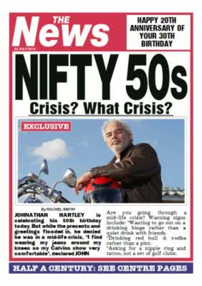 Nifty 50S Newspaper Headline Personalised Photo Upload 50th Birthday Card