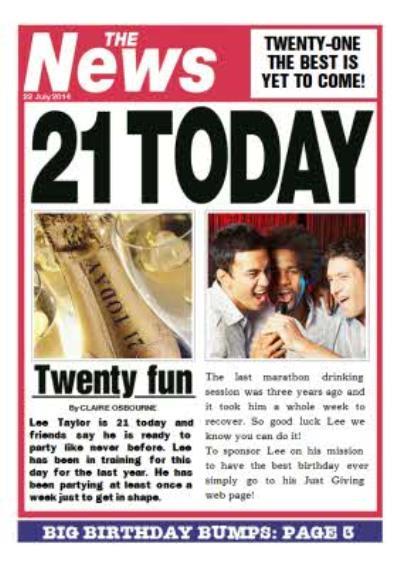 Newspaper Headline Twenty Fun Personalised 21st Birthday Card