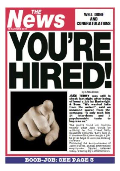 Newspaper Headline You're Hired Personalised New Job Card