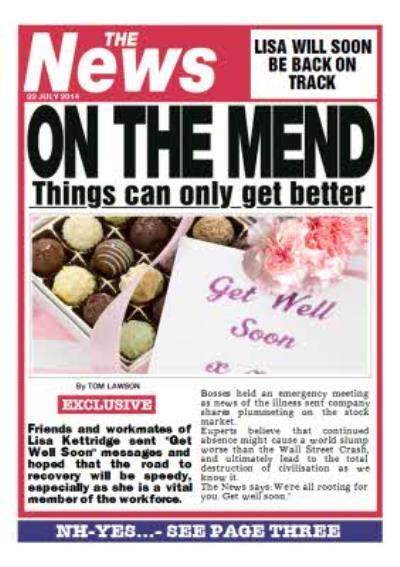 Newspaper Headline On The Mend Personalised Get Well Soon Card