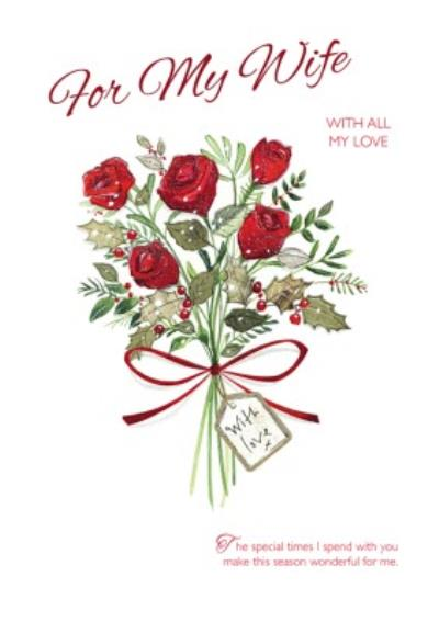 To Wife Rose Bouquet Personalised Christmas Card