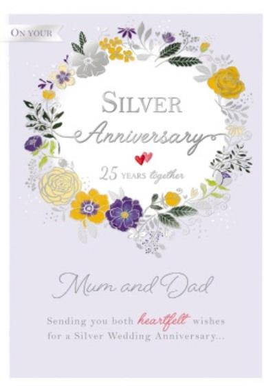 25 Years Together Silver Anniversary Card
