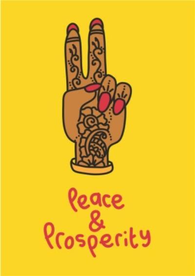 Peace and Prosperity Hand Diwali Card