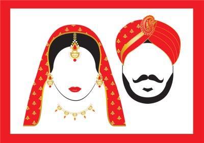 Couple Illustration Indian Wedding Card