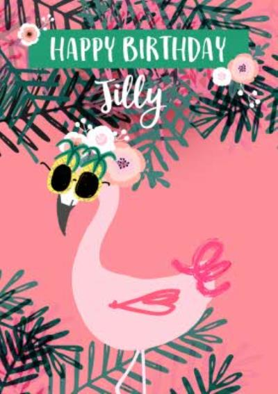 Flamingo tropical modern birthday card for her