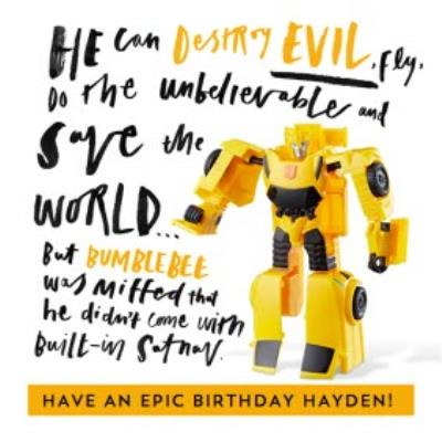 Funny Transformer Bumblebee birthday card