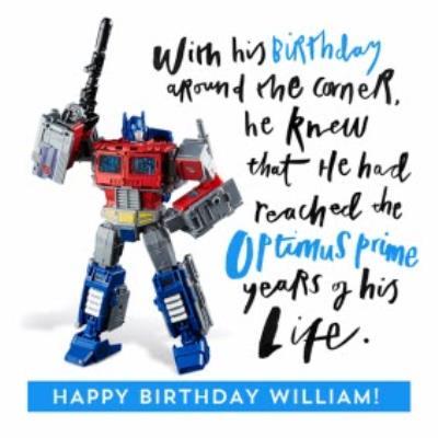 Funny Transformer Optimus Prime birthday card - in his prime!