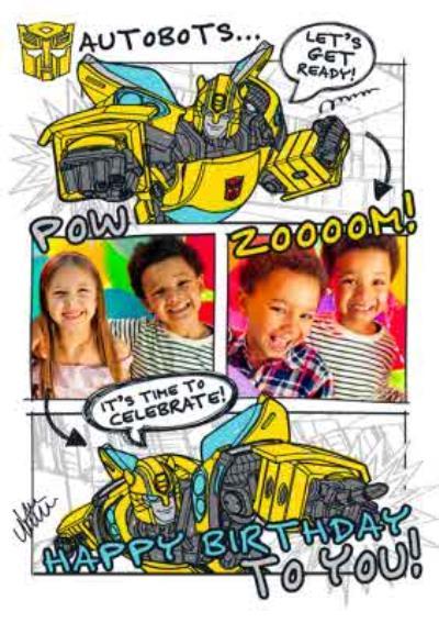 Transformer Autobots kids photo upload birthday card