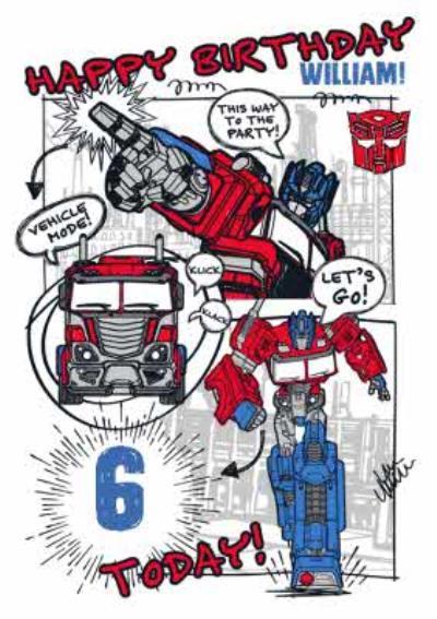 Transformer Optimus Prime 6 today birthday card