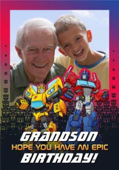 Transformer epic birthday photo upload card for Grandson