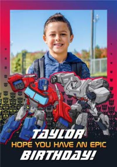 Transformer epic birthday photo upload card
