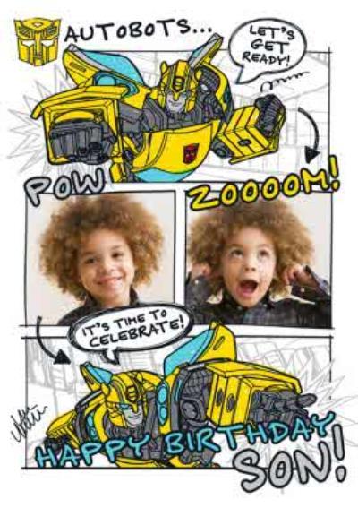 Transformer Autobots Son photo upload birthday card