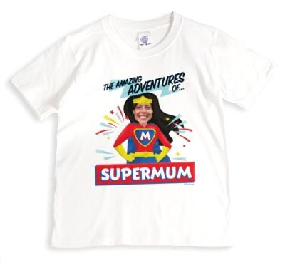 Cool Typographic Personalised Superdad Comic Hero Photo Upload T-Shirt
