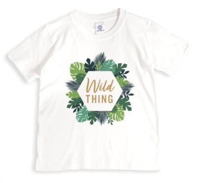 Typographic Ilustration Floral Wreath Wild Thing T-Shirt