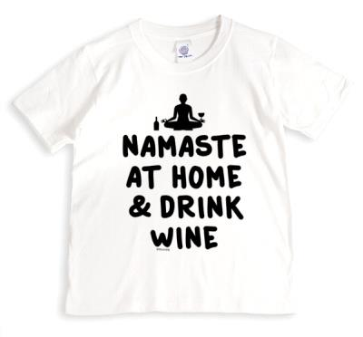 Typographic Namaste At Home And Drink WineT-Shirt