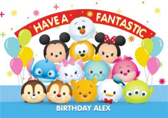 Incredible Disney Tsum Tsum Personalised Happy Birthday Card For Kids Moonpig Funny Birthday Cards Online Fluifree Goldxyz