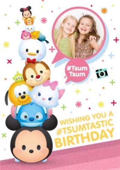 Disney Tsum Tsum Personalised Photo Upload Happy Birthday Card