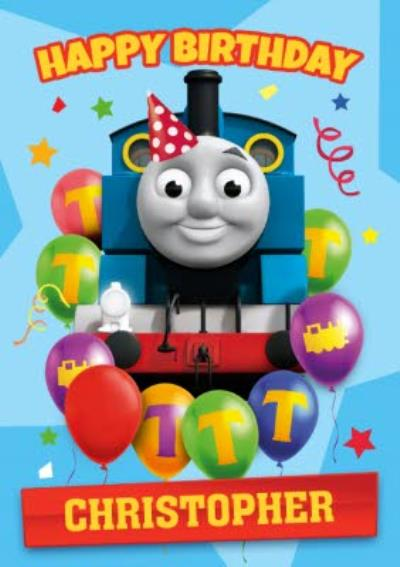 Thomas And Friends Balloons and Stars Birthday Card
