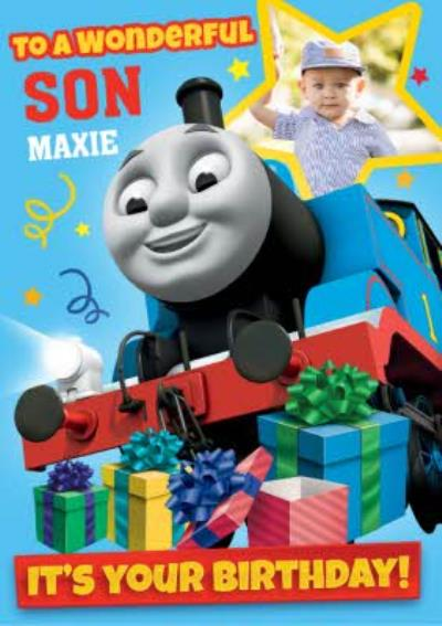 Thomas And Friends To A Wonderful Son Birthday Photo upload Card