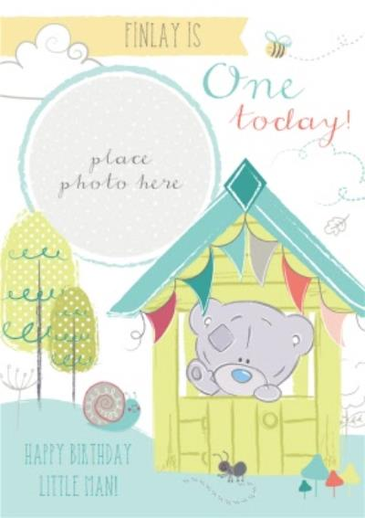 Tiny Tatty Teddy In Hut Personalised Photo Upload Happy 1st Birthday Card