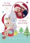 Tatty Teddy And Cuddly Rudolph Personalised Photo Upload Merry Christmas Card For Aunt And Uncle