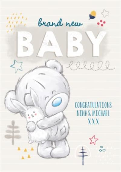 Me To You Tatty Teddy Brand New Baby Personalised Card