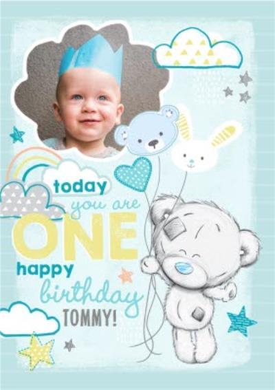 Me To You Tatty Teddy 1St Birthday Blue Photo Upload Card