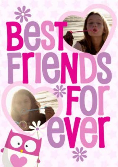 Best Friends Forever With Owl Personalised Photo Upload Happy Birthday Card