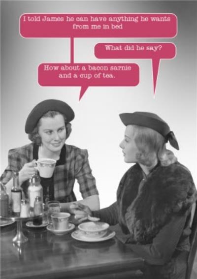 Retro Ladies Drinking Tea Funny Caption Card