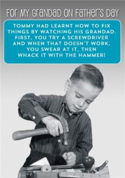 Working With Tools For My Grandad On Father's Day Funny Card