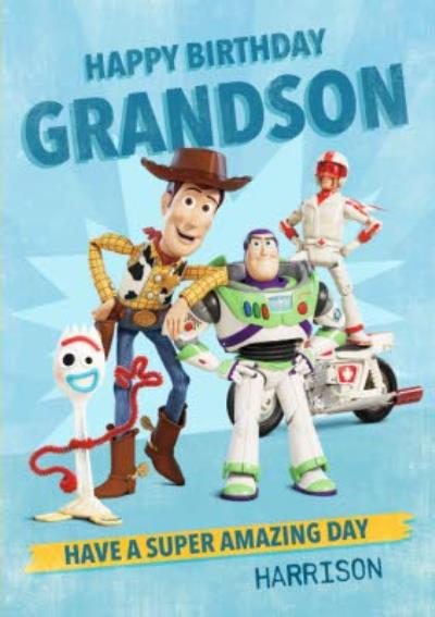 Toy Story 4 - Happy Birthday Grandson Super Amazing Day